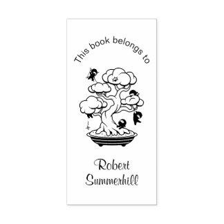 Carimbo De Borracha Ninjas minúsculo no Bookplate da árvore dos