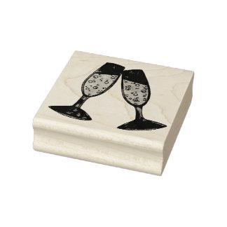 Carimbo De Borracha O brinde de vidro de Champagne borbulha os elogios