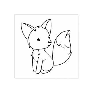 Carimbo De Borracha O Fox pequeno bonito colore-me