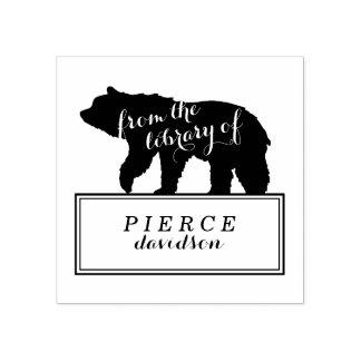 Carimbo De Borracha O urso rústico caçoa a etiqueta do Bookplate