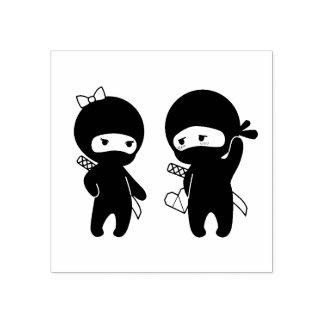 Carimbo De Borracha Pares de Ninja, um menino e uma menina