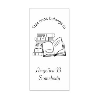 Carimbo De Borracha Pilha de livros e de livro aberto - Bookplate