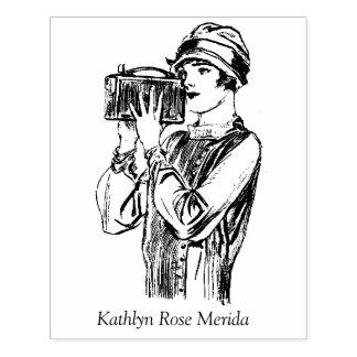 Carimbo De Borracha Realizador Vloggers da mulher de Videographer do