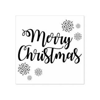 Carimbo De Borracha Tipografia e flocos de neve do Feliz Natal
