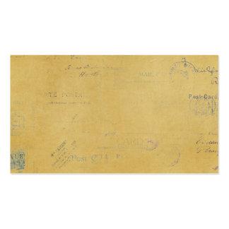 carimbos postais do vintage no fundo amarelo cartoes de visita