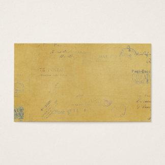carimbos postais do vintage no fundo amarelo cartão de visitas