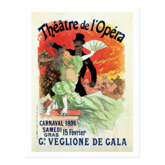 Carnaval 1896 da ópera do teatro do vintage cartao postal