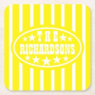 Carnaval amarelo personalizado do vintage porta-copo de papel quadrado