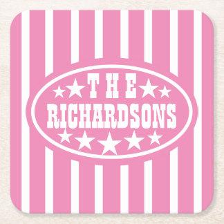 Carnaval cor-de-rosa personalizado do vintage porta-copo de papel quadrado