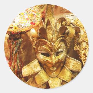 Carnaval da máscara do bobo da corte do ouro do adesivos em formato redondos
