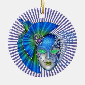Carnaval - mascarada - SRF Ornamento De Cerâmica Redondo