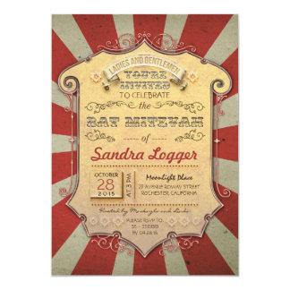 Carnaval ou circo de Mitzvah do bastão Convite 12.7 X 17.78cm