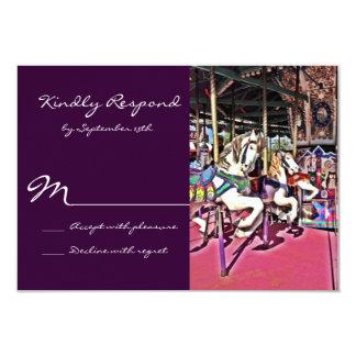 Carnaval roxo do cavalo do carrossel que Wedding Convite 8.89 X 12.7cm