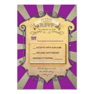 carnaval RSVP wedding roxo Convite 8.89 X 12.7cm