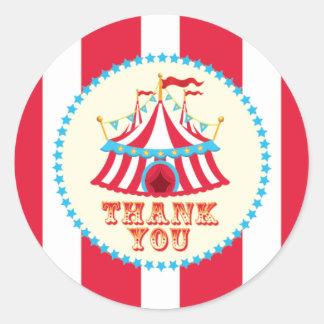 Carnaval, tenda do circus, obrigado etiqueta adesivos redondos