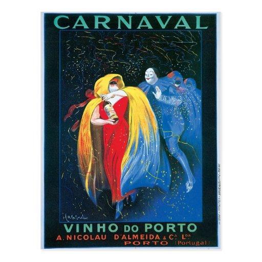 Carnaval Vinho faz a arte do anúncio do vinho do v Cartoes Postais