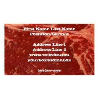 Carne crua cartão de visita