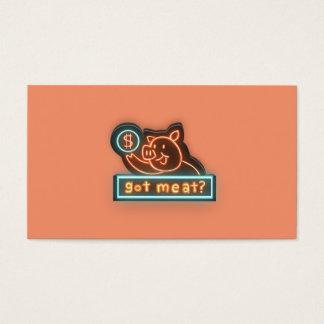 Carne obtida? cartão de visitas