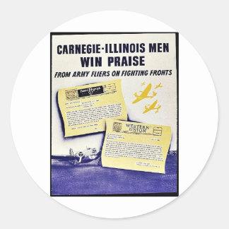 Carnegie - elogio da vitória dos homens de adesivos em formato redondos