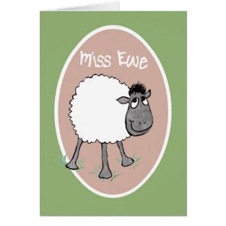 Carneiros bonitos, senhorita Ovelha, cartão do