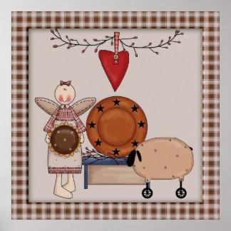 Carneiros do girassol do país & decoração primitiv pôster