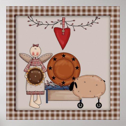 Carneiros do girassol do país & decoração primitiv posteres