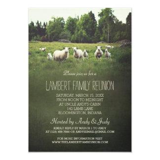Carneiros na reunião de família do pasto | convite 12.7 x 17.78cm