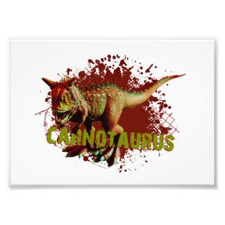 Carnotaurus mau que espirra o verde e o vermelho impressão de foto