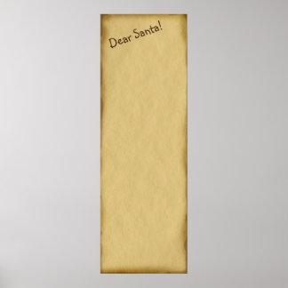 Caro pergaminho clássico Wishlist do papai noel Poster