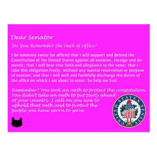 Caro senador - cartão político do juramento de