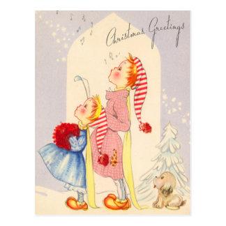 Carolers de canto bonitos do Natal cartão