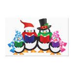 Carolers do Natal dos pinguins com chapéus e lenço Impressão Em Canvas