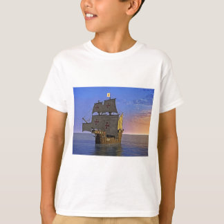 Carrack medieval no crepúsculo camiseta