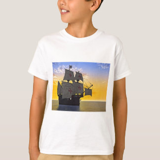 carrack medieval no por do sol camiseta