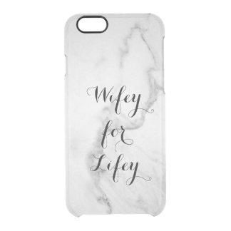 Carrara Wifey de mármore para o caso do iPhone Capa Para iPhone 6/6S Transparente