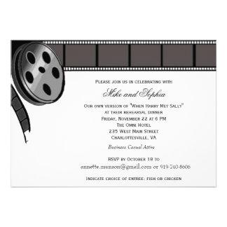 Carretel de filme no convite de festas preto e bra
