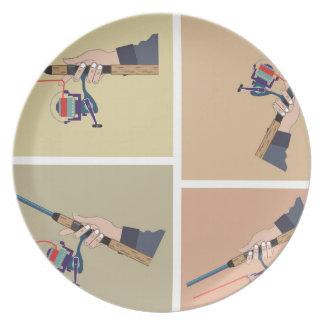Carretel de giro de moldação com posições da haste prato de festa