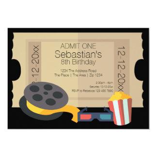Carretel do filme da pipoca do bilhete da admissão convite 12.7 x 17.78cm
