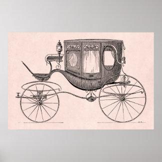 Carrinho antigo puxado a cavalo da carruagem dos 1 poster
