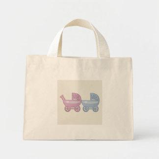 carrinho de bebê cor-de-rosa & azul sacola tote mini
