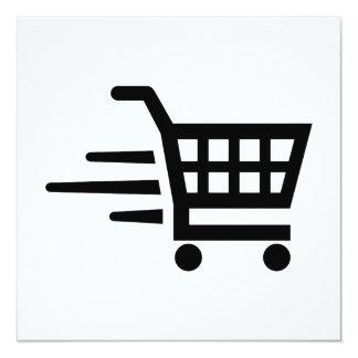 Carrinho de compras convite quadrado 13.35 x 13.35cm