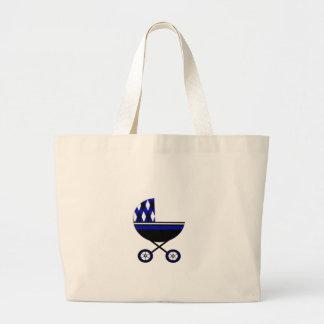 Carrinho de criança azul bolsa de lona