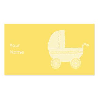 Carrinho de criança de bebê amarelo cartões de visitas