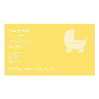 Carrinho de criança de bebê amarelo cartão de visita