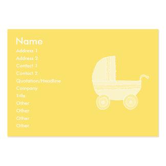 Carrinho de criança de bebê amarelo cartão de visita grande
