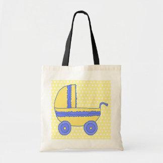 Carrinho de criança de bebê amarelo e azul bolsa para compra