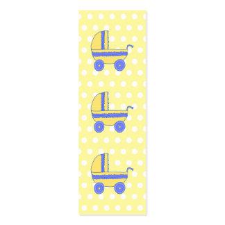 Carrinho de criança de bebê amarelo e azul cartão de visita skinny