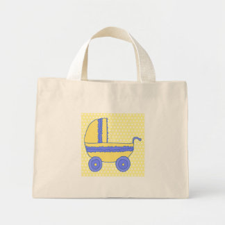 Carrinho de criança de bebê amarelo e azul sacola tote mini