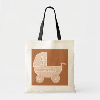 Carrinho de criança de bebê bege antiquado em Brow Bolsa De Lona