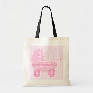 Carrinho de criança de bebê. Luz - rosa no guingão Bolsas De Lona